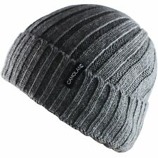 CAMOLAND Mens Fleece Wool Cable Knit Winter Beanie Hat Grey