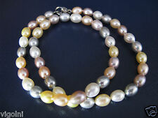 PEARL NECKLACE MULTI COLOR PASTEL STRAND STRING YELLOW GRAY CHOKER GIFT HONORA