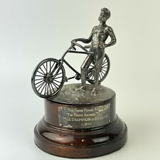 More details for solid silver 19thc cycling trophy bicycle & rider form mile champion of england