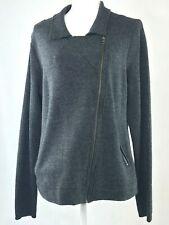 Savile Row London Women's Gray Wool Knit Full Zip Moto Sweater Jacket Sz XL