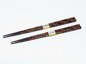 2 Pairs of Ancient-Wakasa-lacquered Chopsticks w/Abalone (Handmade in Japan)