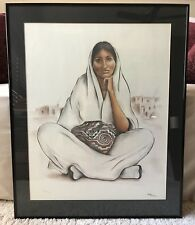 Original Sheila Hill Pastel Painting #127/750 Taos Artist 1982 Native Woman Old