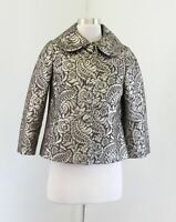 Banana Republic Brown Gold Paisley Floral Metallic Foil Swing Jacket Silk Sz XS