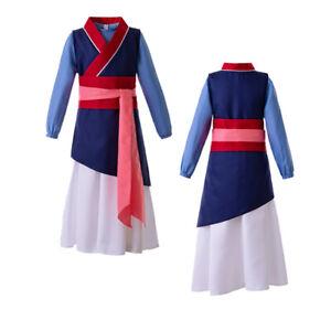 Kids Girls Heroine Hua Mulan Costume Halloween Cosplay Outfit Fancy Dress Blue