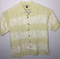 Tommy Bahama Mens Hawaiian Shirt 100% Silk Yellow Floral Aloha Size Large
