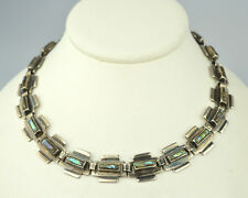 "VINTAGE SIGNED J.C. HEAVY MEXICAN STERLING SILVER ABALONE 16"" CHOKER NECKLACE"