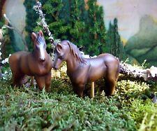 Miniature Fairy Garden Horse Brown Set/ 2  0448BR Gnome Hobbit Dollhouse Train