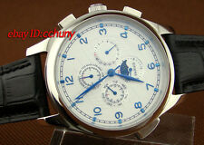 Parnis 44mm white dial Silver case moon phase automatic mens watch 1051