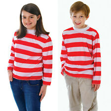 Childrens Kids Red White Striped Top Wheres Wally Fancy Dress Costume Outfit M