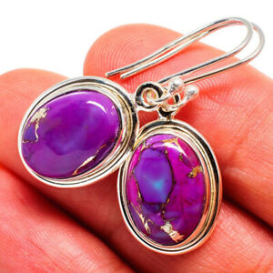 Purple Copper Turquoise Earring Vintage Silver Plated Jewelry Earrings 8C