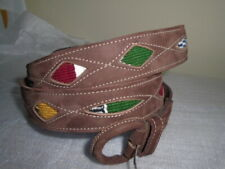 vintage Leather Belt Overlay Cut Out Aztec Inlay mexican rockabilly western 42""