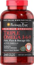 Puritan's Pride Maximum Strength Triple Omega 3-6-9 240 Softgels Made in USA