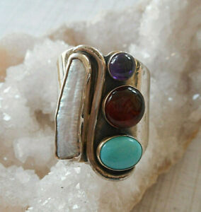 Jay King DTR Sterling Silver Wide Amber Amethyst Turquioise MOP Ring    RE30K1