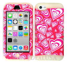 For Apple iPhone 5c KoolKase Hybrid Armor Silicone Cover Case - Heart Pink 78
