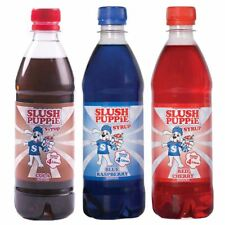 Official Slush Puppie Syrup 3 Pack Blue Raspberry, Cola, Red Cherry Syrup