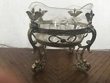 IMPERIAL RUSSIAN SILVER BOWL BASKET GLASS LINERS  EAGLES LIONS