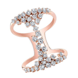 1.16 Ct Round Cut Solid 14K Rose Gold Lace Ring