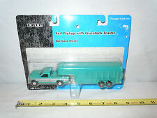 Turquoise & Silver Ford Pickup With Livestock Trailer By Ertl   1/64th Scale