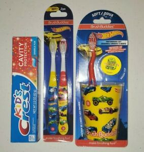 Brush Buddies Hot Wheels Toothbrush with Cup and Toothpaste and extra brushes...