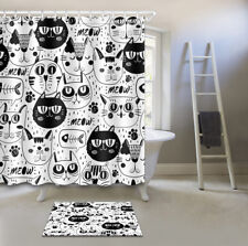 Black White Cat Face Shower Curtain Bath Accessory Sets Polyester Fabric & Hooks