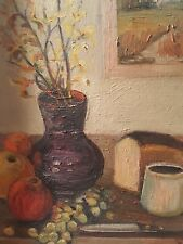 """Original Art """"Still Life, Bread, Grapes, Apples"""" with antique weathered frame"""