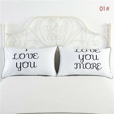 2PCS White Cotton Home Hotel Decor Standard Pillow Cases Bed Throw Cushion Cover