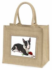 Bull Terrier Dog with Red Rose Large Natural Jute Shopping Bag Chri, AD-BUT2RBLN