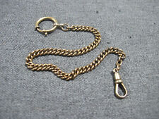 big rounded clasp & hook Unmarked Antique gold filled pocket watch chain with