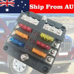 19Pcs 6 Way Auto Blade Fuse Box Holder Block Panel 24V Car Power Distribution