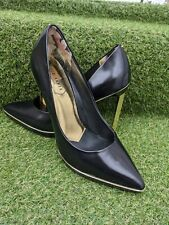 Ted Baker Black Leather Stiletto Heels Court Shoe Point Toe Gold Heel UK 4 EU 37