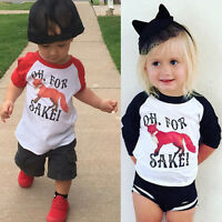 Kids Baby Girls Boys Clothes Long Sleeve Fox Letter Tops T-Shirt Blouse Pullover