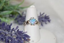 Celtic Claddagh Opal Sterling Silver Ring Size 5