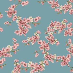 Soft Sweat, Verhees Textiles, warme Rückseite, GOTS, Kirschblüten, He-Blau 150cm