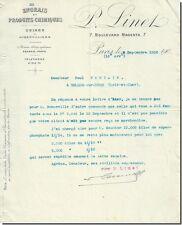 Lettre - P Linet - Engrais et Produits chimiques à Paris 1900