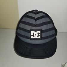 DC Shoe Co Official Polyester Snapback Black Striped Logo Hat Cap Trucker Mesh