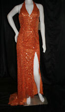 RIVA ORANGE GOLD CIRCLES SIZE 4 GOWN PROM WEDDING FORMAL PAGEANT #8836 NWT