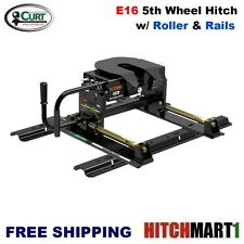 16K CURT 5TH FIFTH WHEEL TRAILER HITCH with ROLLER & UNIVERSAL RAILS #16616