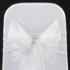 10 WEDDING ORGANZA CHAIR COVER BOW SASH FOR SALE UK NEW