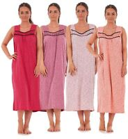Ladies Nightwear Heart Polka Print 100% Cotton Sleeveless Long Nightdress M-XXXL