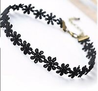 Cotton Flower Daisy Necklace Choker With Clasp Black Ladies Jewellery Top UK