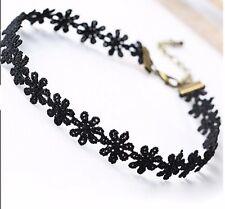 Collar Gargantilla de Margarita Flor de algodón con cierre Negro Top señoras de la joyería de Reino Unido