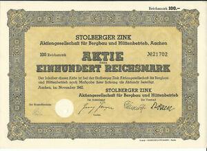 Aktie Stolberger Zink AG Bergbau Hüttentechnik 100 RM Aachen 1942 (14_0)