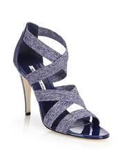 Manolo Blahnik 'Apeni' Patent Leather & Textile Crisscross Sandals 38.5/8.5 $765
