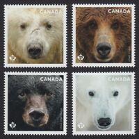 BEARS = Polar = Grizzly = Set 4 from Souvenir Sh Canada 2019 MNH