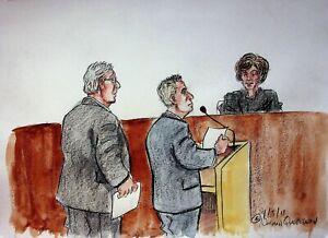 The Trial of Barry Bonds 2011 Signed NORMAN QUEBEDEAU Original Courtroom Art #NQ