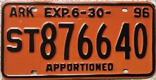 FREE UK POSTAGE 1996 American Arkansas Apportioned License Number Plate 876640
