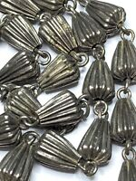 """† LOVELY  VINTAGE SILVER TONED WEDDING BELL RIDGED ROSARY NECKLACE 25"""" 18.69 †"""