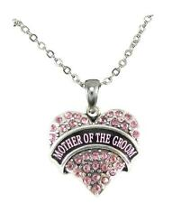 Mother of the Groom Pink Crystal Heart Silver Necklace Jewelry Wedding Gift