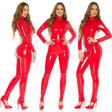 Koucla Red Latex Look Jumpsuit Glossy Faux Leather Long Sleeved Catsuit Skinny