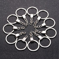 10pcs HOT DIY 30mm Polished Silver Keyring Keychain Split Ring Short Chain T ba